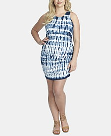 Trendy Plus Size Tummy-Control Tie-Dyed Mini Dress
