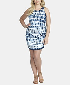 Jessica Simpson Trendy Plus Size Tummy-Control Tie-Dyed Mini Dress