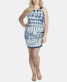 Jessica Simpson Trendy Plus Size Tummy-Control Tie-Dyed Mini Dress
