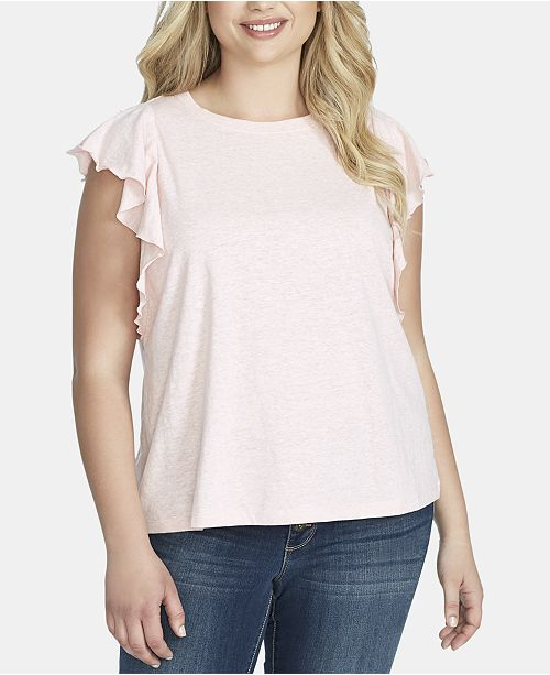 Jessica Simpson Trendy Plus Size Ruffle-Sleeve Top
