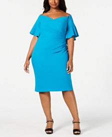 Calvin Klein Plus Size Draped Off-The-Shoulder Dress