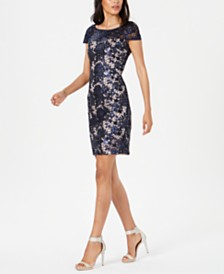Calvin Klein Lace V-Back Sheath Dress
