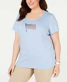 Karen Scott Plus Size Cotton Embellished-Flag T-Shirt, Created for Macy's