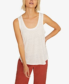 Ruby Solid Scoop-Neck Linen Tank Top