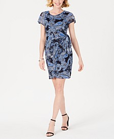 Petite Printed Lace Faux-Wrap Dress