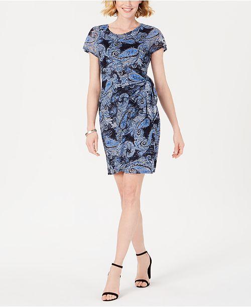Robbie Bee Petite Printed Lace Faux-Wrap Dress