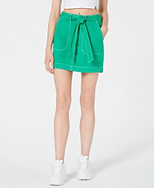 Cotton Tie-Belt Utility Skirt