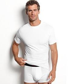 men's underwear, cotton spandex tagless slim fit crew neck Undershirt 2 pack