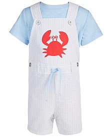 First Impressions Baby Boy's Crab Shortall Set, Created for Macy's