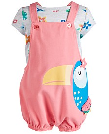 First Impressions Baby Girls 2-Pc. Printed T-Shirt & Toucan Shortalls Set, Created for Macy's