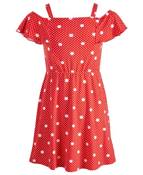 Epic Threads Big Girls Off-the-Shoulder Dot-Print Dress, Created for Macy's