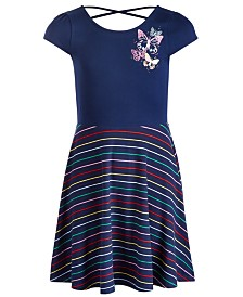 Epic Threads Big Girls Butterfly Striped Dress, Created for Macy's