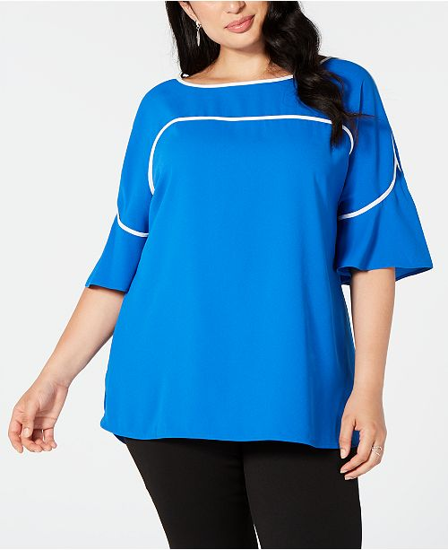 Alfani Plus Size Piping-Trim Top, Created for Macy's