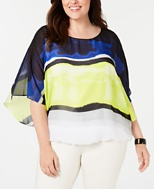 Alfani Plus Size Wing-Sleeve Bubble Top, Created for Macy's