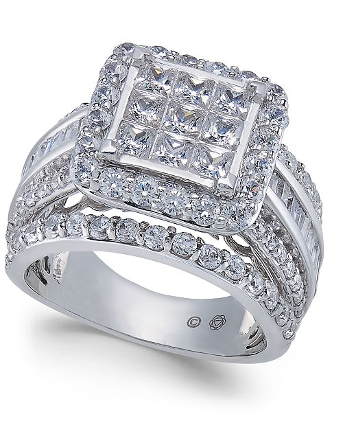 Macy's Diamond Princess Cluster Engagement Ring (3 ct. t.w.) in 14k White Gold