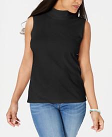 Karen Scott Mock-Neck Sleeveless Top, Created for Macy's