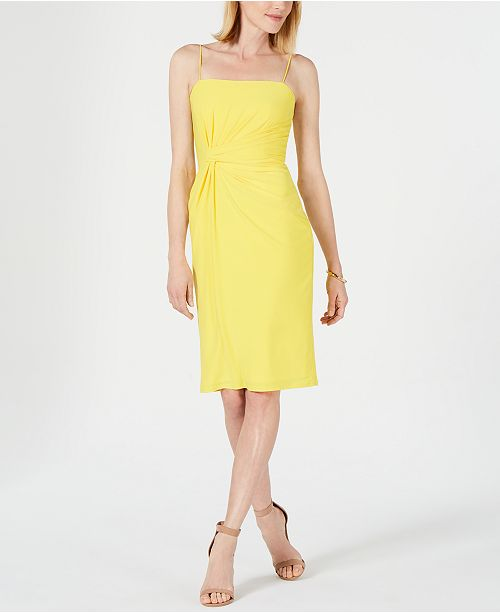 Adrianna Papell Draped Bandeau-Neck Dress