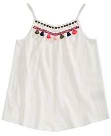 Epic Threads Big Girls Embroidered Tassel Tank Top, Created for Macy's
