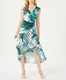 I.N.C. Printed Faux-Wrap Maxi Dress, Created for Macy's