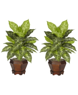 Nearly Natural Dieffenbachia w/Wood Vase Silk Plant, Set of 2