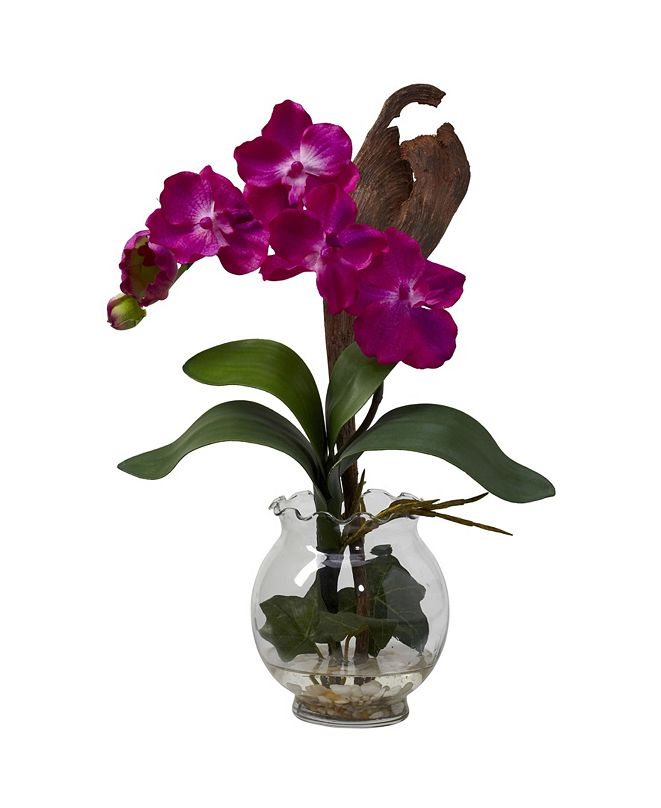Nearly Natural Mini Vanda w/Fluted Vase Silk Flower Arrangement