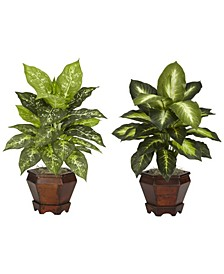 Dieffenbachia w/Wood Vase Silk Plant, Set of 2