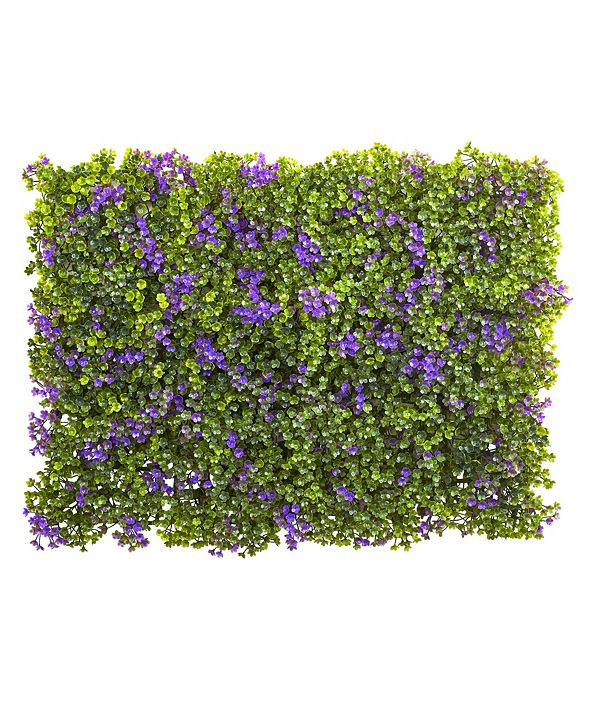 """Nearly Natural 6x6"""" Purple and Green Clover Mat, Set of 12"""