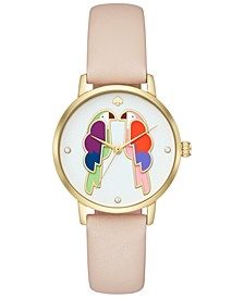 Women's Metro Nude Leather Strap Watch 34mm