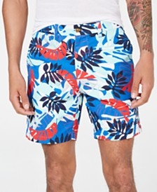 "Tommy Hilfiger Men's 7"" Marcus Regular-Fit Stretch Leaf-Print Shorts"