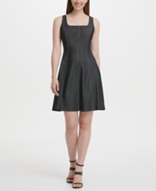 DKNY Square Neck Denim Fit and Flare Dress
