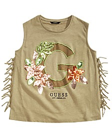 GUESS Big Girls Sequin Fringe Tank Top