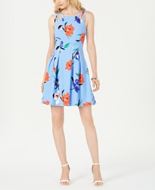 Vince Camuto Petite Floral-Print Fit & Flare Dress