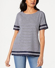Petite Cotton Circle-Trim Top, Created for Macy's