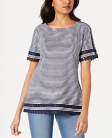 Charter Club Cotton Lace-Trim Striped Top, Created for Macy's