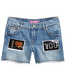 GUESS Big Girls I Love You Denim Shorts, Created for Macy's