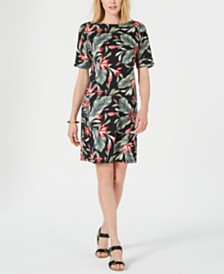 Karen Scott Palm Revival Printed Dress, Created for Macy's