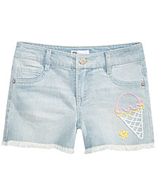 Epic Threads Big Girls Ice Cream Embroidered Denim Shorts, Created for Macy's