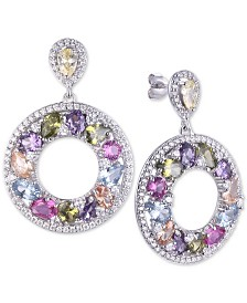 Tiara Cubic Zirconia Multicolor Circle Drop Earrings in Sterling Silver
