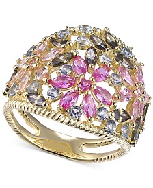 Cubic Zirconia Multicolor Flower Statement Ring in 14k Gold-Plated Sterling Silver