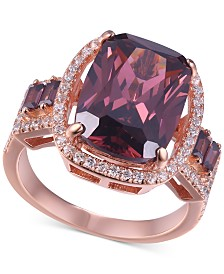 Cubic Zirconia Statement Ring in 14k Rose Gold-Plated Sterling Silver