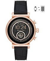 6f486d4bf7d87 Michael Kors Access Women s Sofie Heart Rate Embossed Black Silicone Strap  Touchscreen Smart Watch 41mm