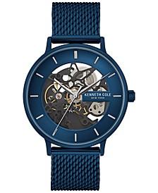 Men's Automatic Blue Stainless Steel Mesh Bracelet Watch 43mm