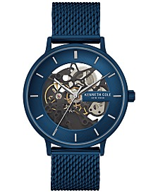 Kenneth Cole New York Men's Automatic Blue Stainless Steel Mesh Bracelet Watch 43mm