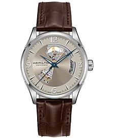 Men's Swiss Automatic Jazzmaster Open Heart Brown Leather Strap Watch 42mm