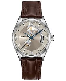 Hamilton Men's Swiss Automatic Jazzmaster Open Heart Brown Leather Strap Watch 42mm
