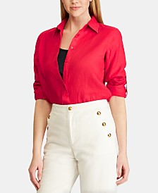 Lauren Ralph Lauren Straight Fit Linen Shirt