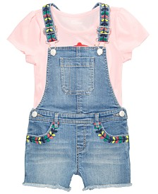 Epic Threads Little Girls Graphic-Print T-Shirt & Embellished Denim Overalls Separates, Created for Macy's