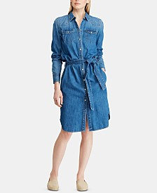 Lauren Ralph Lauren Belted Cotton Twill Shirtdress