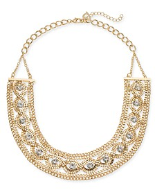 Thalia Sodi Gold Crystal Chain Wide Statement Necklace, Created for Macy's