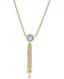 "Swiss Blue Topaz  20"" Pendant Necklace (1-3/8 ct. t.w.) in 10k Gold"